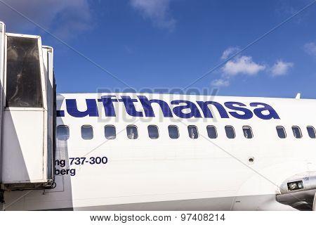 Boarding Lufthansa Jet Airplane In Frankfurt Airport