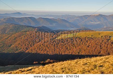 Autumn morning in mountains