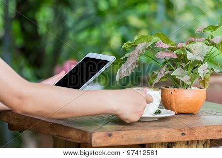 Hands Woman Using Tablet