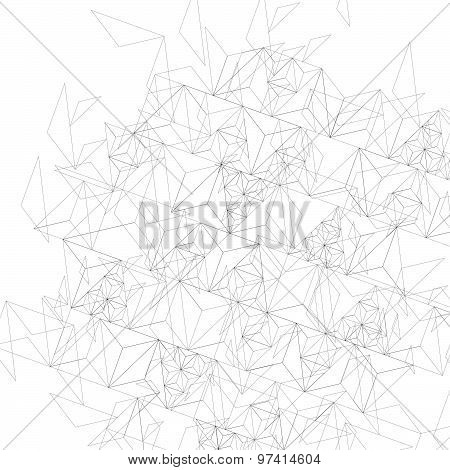 Grayscale technology stylish construction, abstract dimensional background with geometric figures.