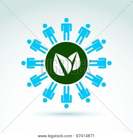 Green leaves global life and mankind symbolic icon, vector conceptual unusual symbol for your design