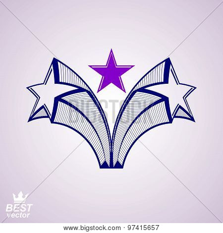 Vector stylized design element, celebrative perspective pentagonal stars web emblem. Union idea, eps