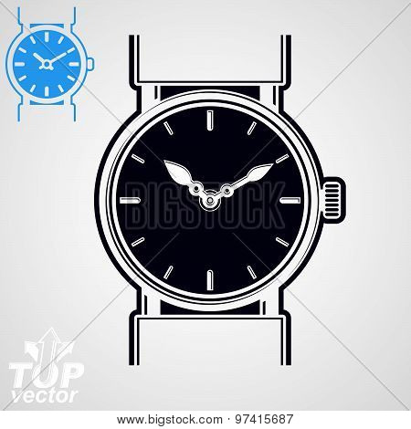 Vector simple wristwatch illustration, detailed quartz watch with dial and an hour hand. Stylized st