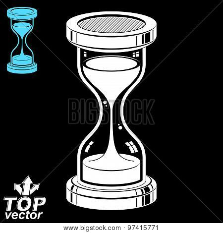 Smooth detailed vector sand-glass. Old-fashioned classic 3d hourglass with pour sand isolated on dar