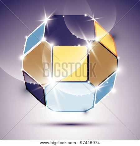 Three-dimensional expressive sparkling mirror ball with geometric figures. Vector dazzling abstract