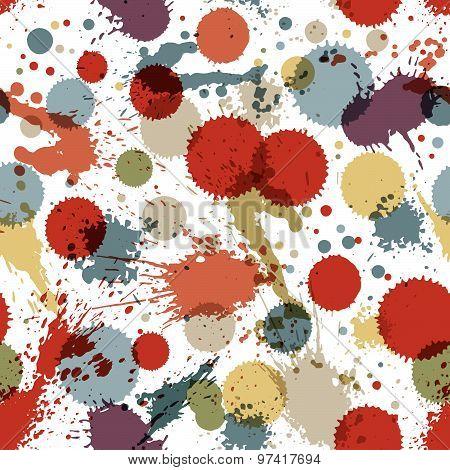 Colorful splattered web design repeat pattern, art ink blob, multilayered paintbrush drawing. Bright graffiti transparent seamless background, eps10. poster