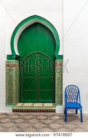 Door of the Mosque in the medina of Asilah Morocco