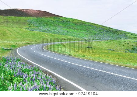 Scenic road by the volcano in Iceland