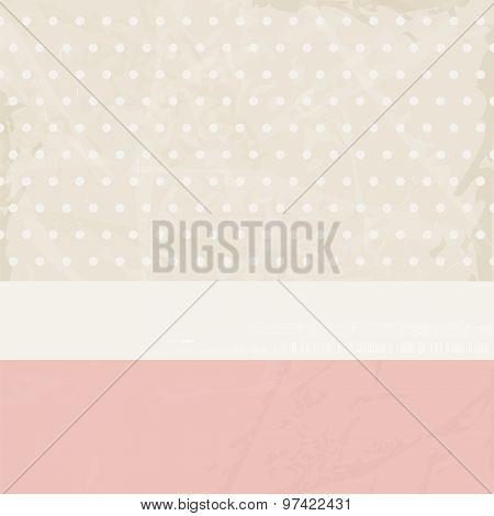 Vintage background pink beige with polka dots