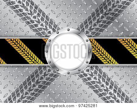 Industrial Background With Tire Treads And White Space