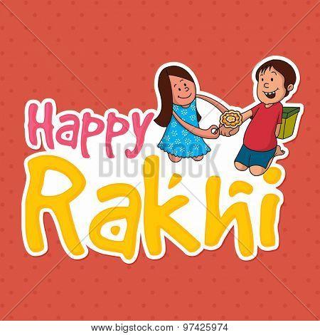 Creative sticky design with illustration of cute little sister tying rakhi to her brother's wrist for Indian festival, Raksha Bandhan celebration.
