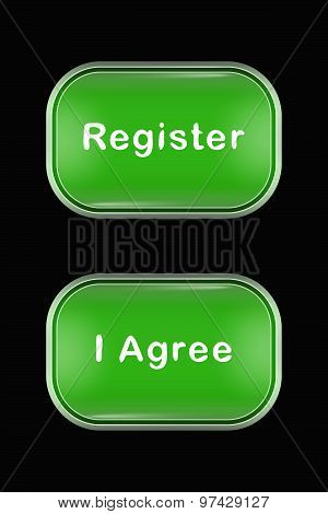 Modern Glass Buttons Register I Agree