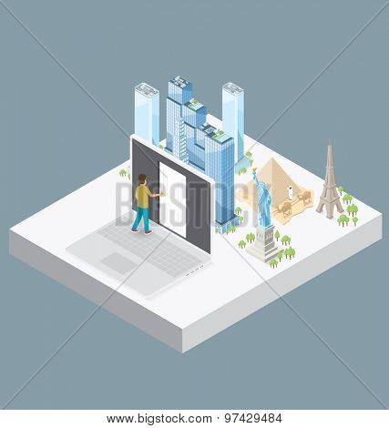 Internet Concept. Vector 3d flat isometric with door to the internet knowledge and encyclopedia