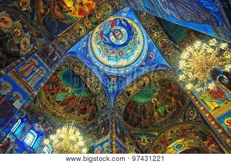 Interiors of Church on Spilled Blood in Saint Petersburg