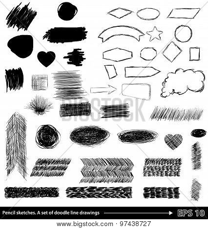 Pencil Sketches.hand Drawn Scribble Shapes A Set Of Doodle Line Drawings. Vector Design Elements