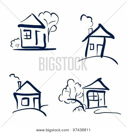 Doodle Hand Drawn Houses. Pencil Vector Sketch. Dark Blue Houses In White Background