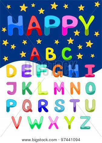Colorful alphabet vector illustration Uppercase font set of ABC letters in bright colors Funny carto