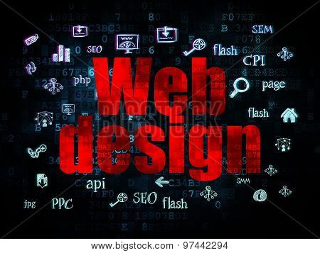 Web design concept: Web Design on Digital background