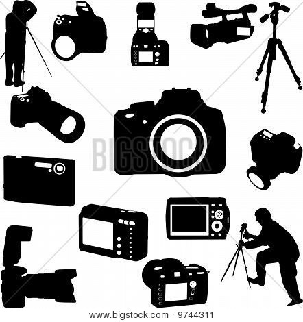 photographers and cameras - vector