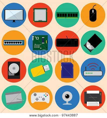 Flat Design Computer Hardware And Device, Vector Illustration