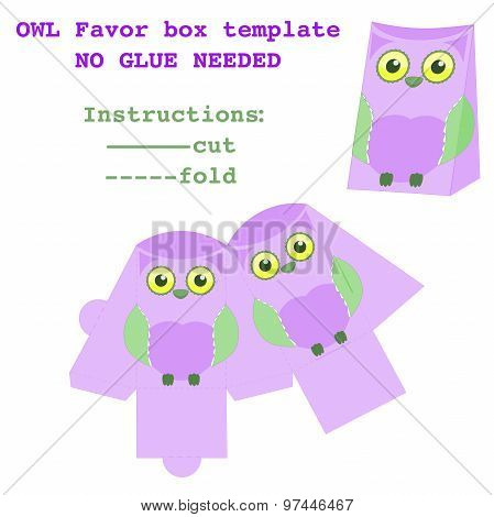Favor box with cute owl design for birthday party in forest theme Baby shower favor box template Newborn baby girl gift box pattern vector illustration DIY cut and fold no glue needed Designer supply poster