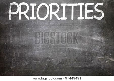 Priorities written on a chalkboard poster