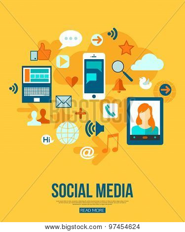 Social Media Concept With Place For Text Flat Style Design Social Media Icons Set Vector Illustration Poster Id 97454624