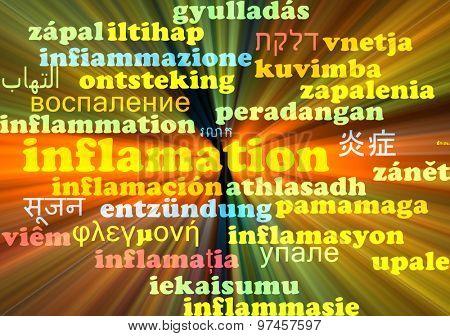 Background concept wordcloud multilanguage international many language illustration of inflamation glowing light