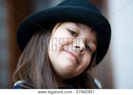 Portrait Girl In A Black Hat