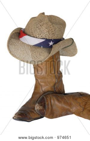 Old Cowboy Boots , Hat And Flag Bandana