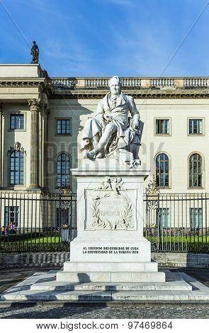 Statue Of Wilhelm Von Humboldt In Berlin