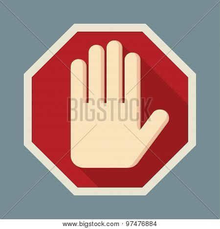 STOP Red octagonal stop hand sign