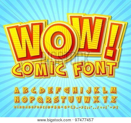 Creative High Detail Yellow-red Comic Font. Alphabe, Comics, Pop Art.