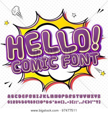 Creative High Detail Purple Comic Fontn. Alphabet, Comics, Pop Art.