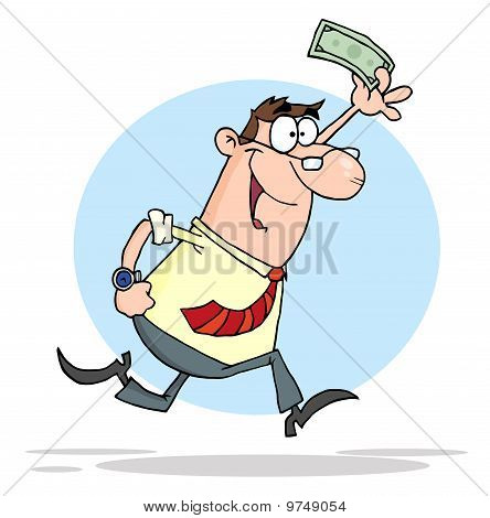 Happy Businessman Running With Dollar In Hand