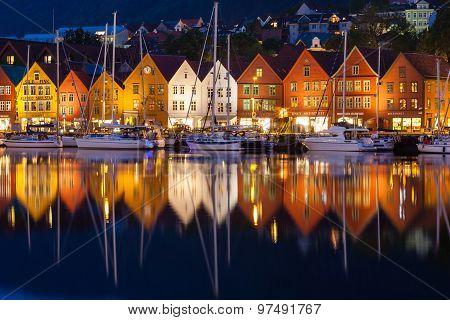 Bryggen Houses At Night