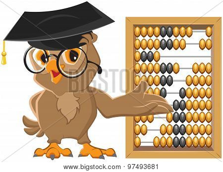 Owl teacher showing abacus