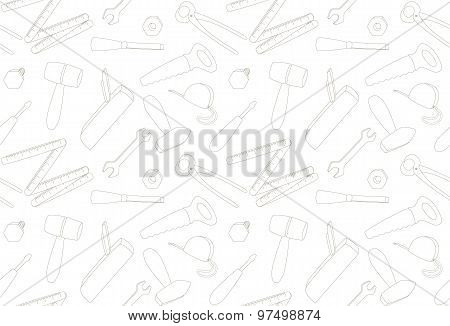 cartoon tools, light seamless pattern, illustration