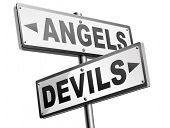 devil and angel good or evil bad heaven and hell road sign with text arrow poster