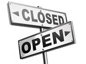 open or close opening hours or closing time start of new season or beginning no access and file or case closed poster