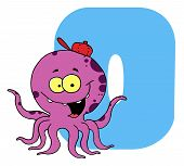 Letter O With An Octopus Cartoon Character poster