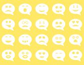 Chat emotion smile icons. Vector set style: flat images, white symbols, isolated on a yellow background. poster