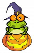 Spotted Frog Wearing A Witch Hat And Sitting On A Jackolantern poster