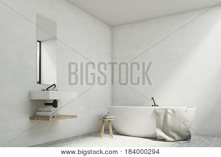White bathroom interior with a sink a mirror hanging above it and a white tub standing near a wall. 3d rendering mock up
