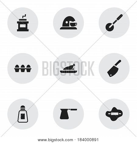Set Of 9 Editable Cooking Icons. Includes Symbols Such As Coffee Pot, Saltshaker, Cup And More. Can Be Used For Web, Mobile, UI And Infographic Design.