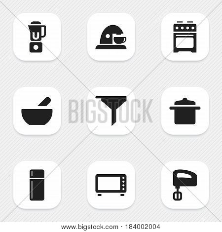 Set Of 9 Editable Cooking Icons. Includes Symbols Such As Stove , Hand Mixer, Cup. Can Be Used For Web, Mobile, UI And Infographic Design.