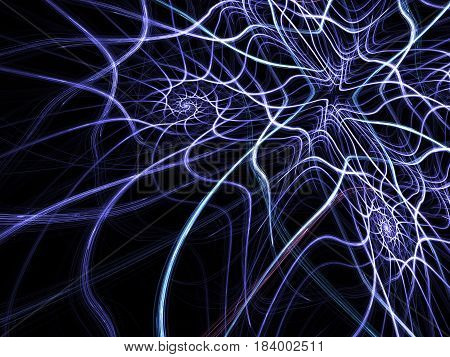 An abstract computer generated modern fractal design on dark background. Abstract fractal color texture. Digital art. Abstract Form & Colors. Abstract fractal element pattern for your design. Spiral glowing neon mesh. Blue web