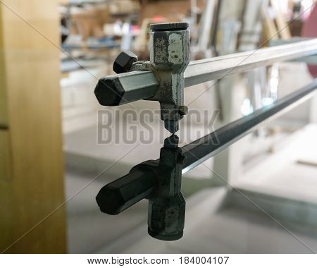 Glass cutting  for cut glass sheet on working table. selective focus