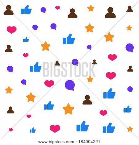 Icons of social network icoslated on white background. Like, comment, followers icons. Flat vector illustration for background.