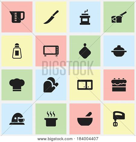 Set Of 16 Editable Cook Icons. Includes Symbols Such As Saltshaker, Agitator, Sideboard And More. Can Be Used For Web, Mobile, UI And Infographic Design.